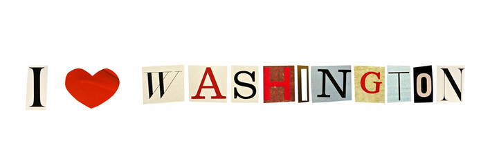 I Love Washington formed with magazine letters