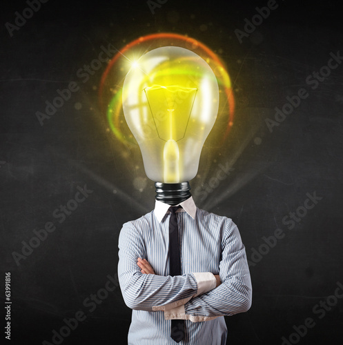 Business man with light bulb head concept