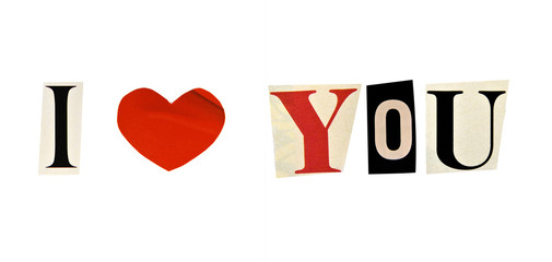 I Love You formed with magazine letters on a white background