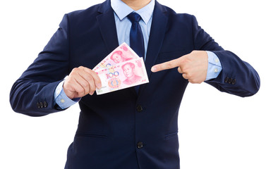 Businessman pointing chinese banknote
