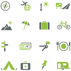 Collection of icons for travel, tourism and active recreation.