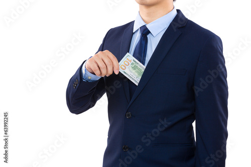 Man taking out of pocket