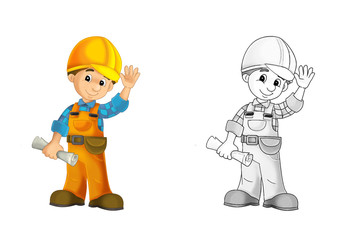 Construction worker - coloring page with preview
