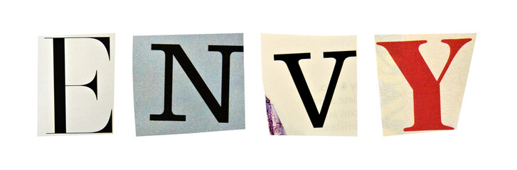 Envy formed with magazine letters on a white background