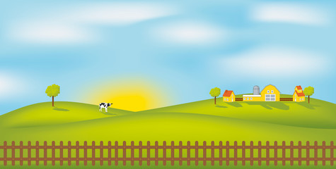 Summer landscape. Vector illustration.