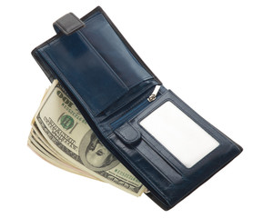 Open blue leather wallet with money
