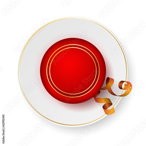 Red jewelry box on saucer