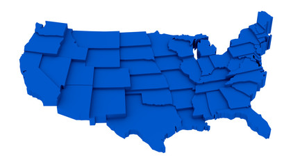 United States blue map by states in various high levels.
