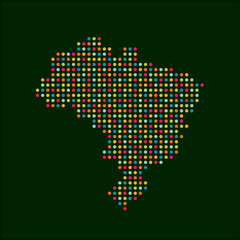 Brazil color dot map. Abstract style, modern business vector