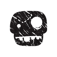 Black grunge  skull on white background.