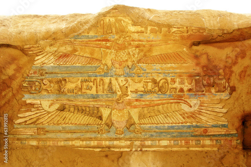 Temple of Kom Ombo, Egypt: polychromed carvings