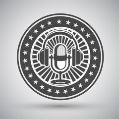 Retro microphone and headphones emblem