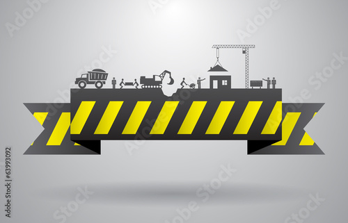 Yellow construction banner for infographics title