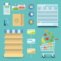 Supermarket food shopping internet concept