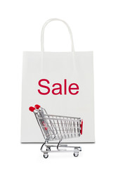 """Sale"" on shopping bag with cart"