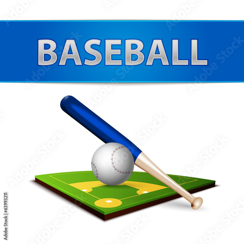 Baseball Ball Bat and Green Field Emblem