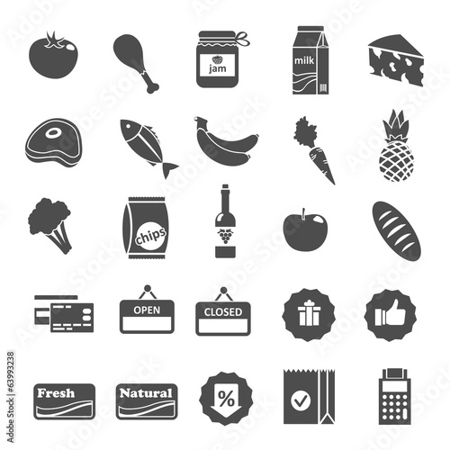 Supermarket Food Selection Icons Set