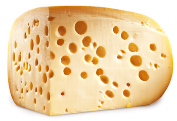 Quarter of Emmental cheese head. Clipping paths.