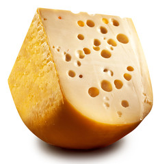 Quarter of Emmental cheese head.