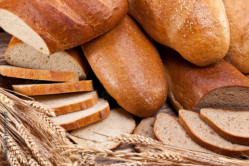 Bread and wheat. Food background.