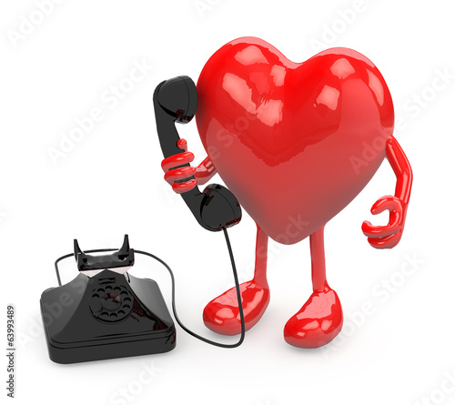 heart with arms, legs and old phone on hand