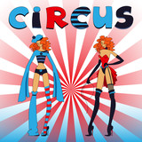 Two thin circus girls poster