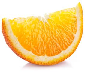 Orange slice on a white.