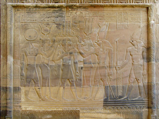 Temple of Kom Ombo, Egypt: relief of the Pharaoh with goddesses