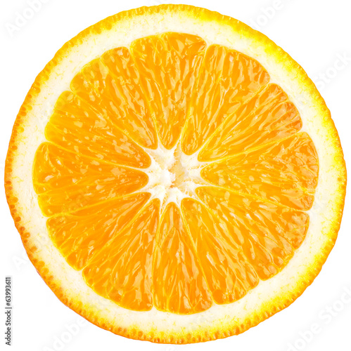 Orange slice (half) on a white.