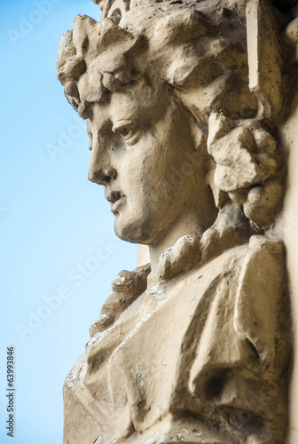 Old atlant statues houuse wall decoration. St.Petersburg, Russia