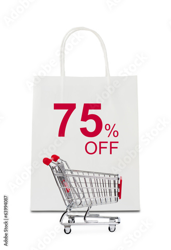 """75% off"" on shopping bag with cart"