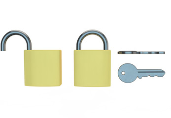 different views of padlocks and keys on white background
