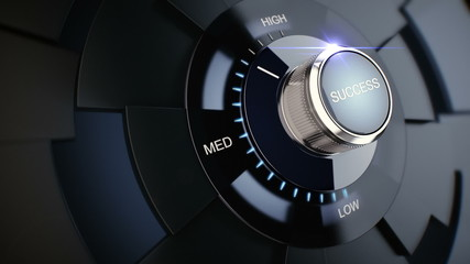 Rotating button with the word success from low to high.