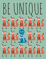 card with foxes. Be unique.