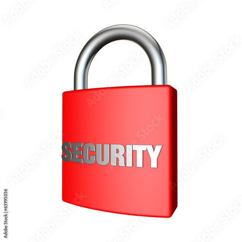 padlock on a white background with security embossed on it
