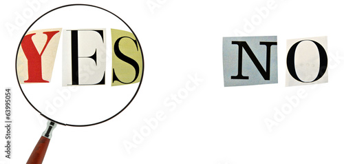 Yes and No Formed with magazine letters on a white background.