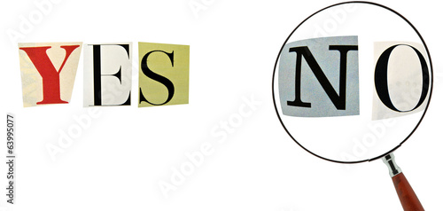Yes and No Formed with magazine letters