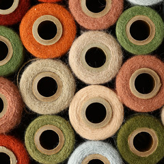 Abstract Square Background Collection of Antique Yarn Spools