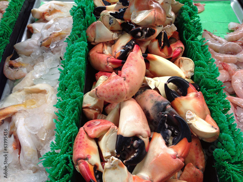 Delicious stone crabs on display