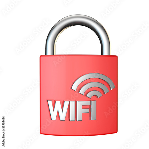 wifi security padlock 3d render on white background