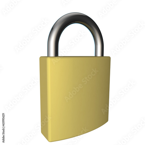 view of a gold padlock on a white background
