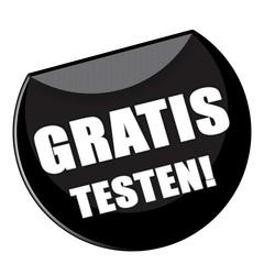 Button - Gratis testen - schwarz - g867