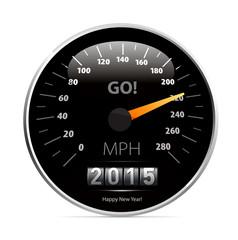 Calendar 2015 in speedometer car.