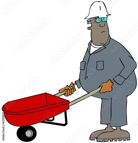 Man pushing a wheelbarrow
