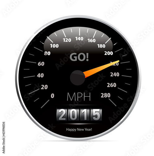 Calendar 2015 in speedometer car.