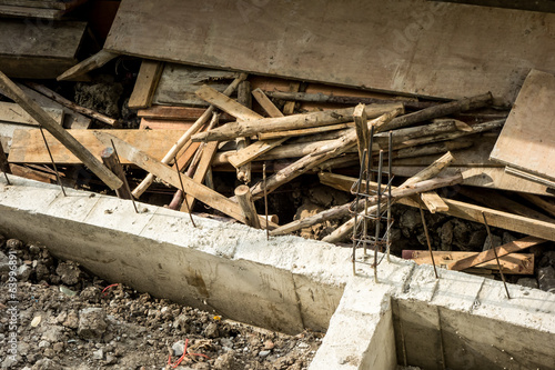 Construction site with stack of wood plate