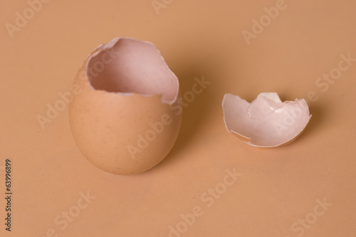 Broken empty brown eggshell