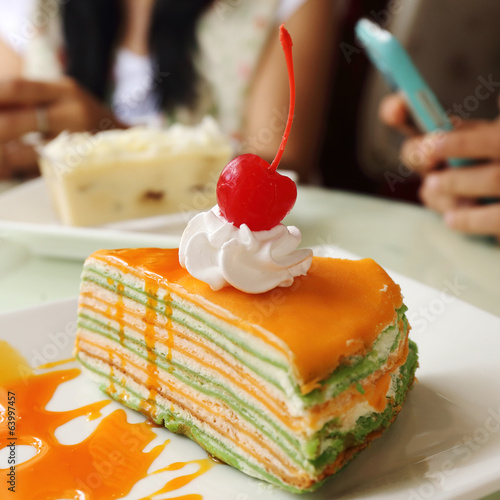 canvas print picture Orange  crepe cake