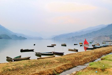Beautiful scenic view of Phewa lake in Nepal