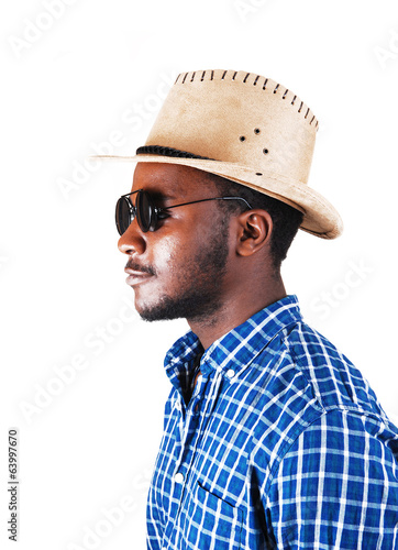 Black man with hat and glasses.